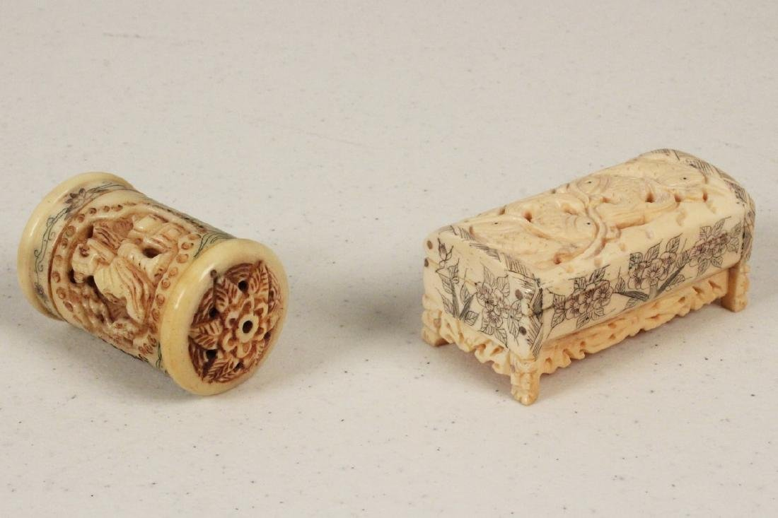 2 MISC. ORIENTAL PERFORATED CARVED SCENT JARS - 2