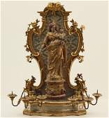 19TH C. CARVED GILTWOOD SHRINE AND MADONNA FIGURE