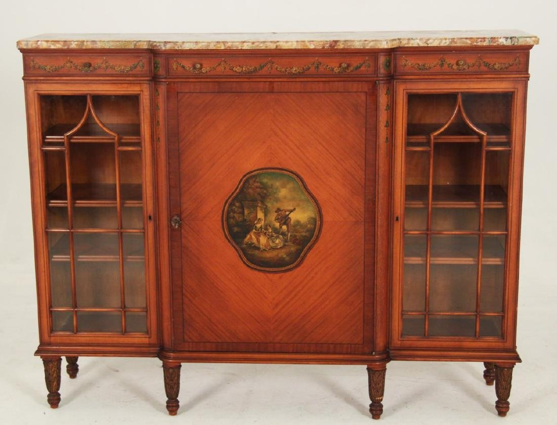 ENGLISH MARBLE TOP BREAKFRONT VITRINE CABINET
