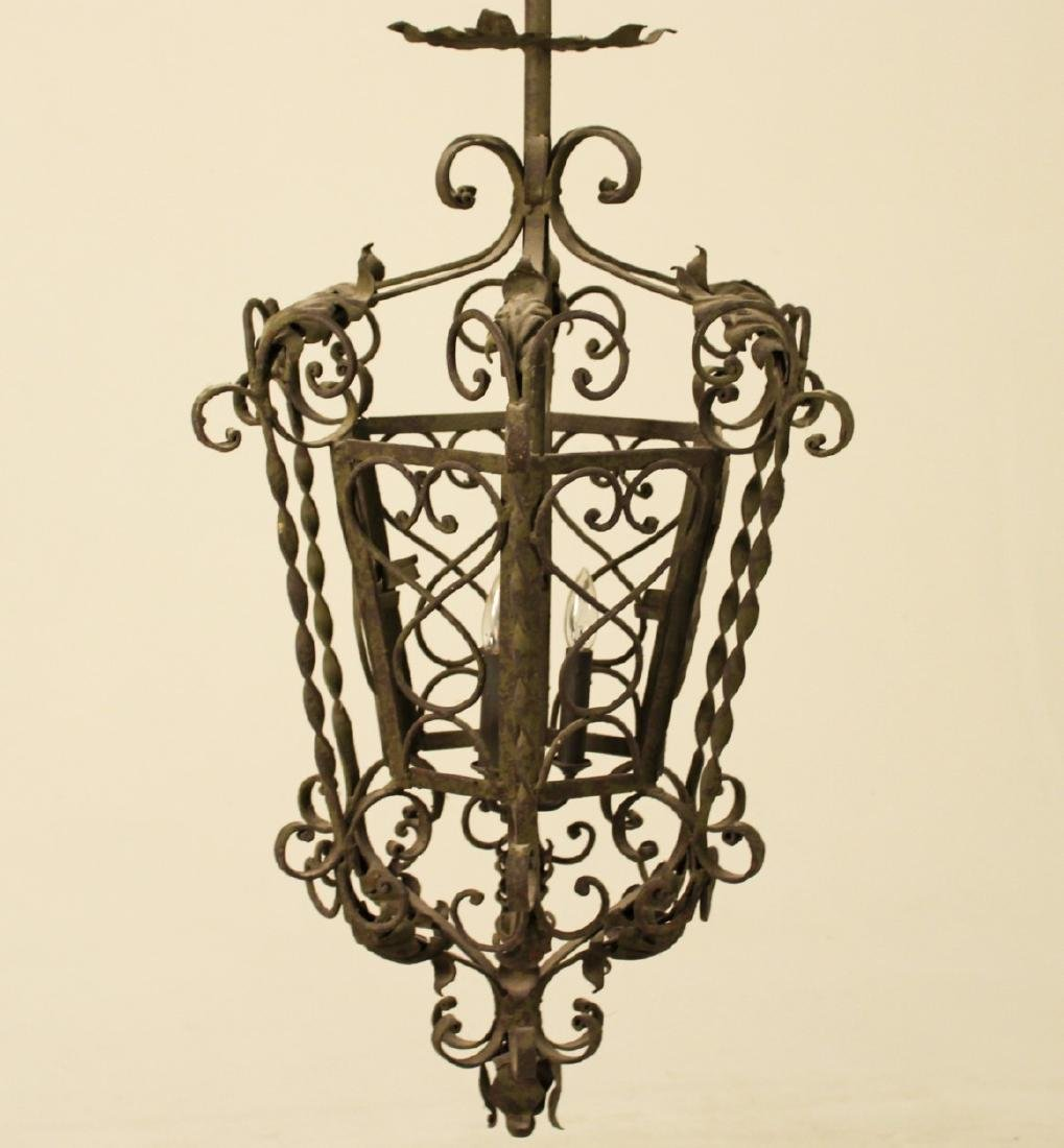 FRENCH WROUGHT IRON LANTERN CHANDELIER