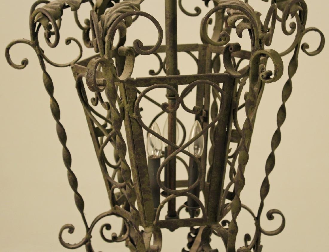 FRENCH WROUGHT IRON LANTERN CHANDELIER - 2