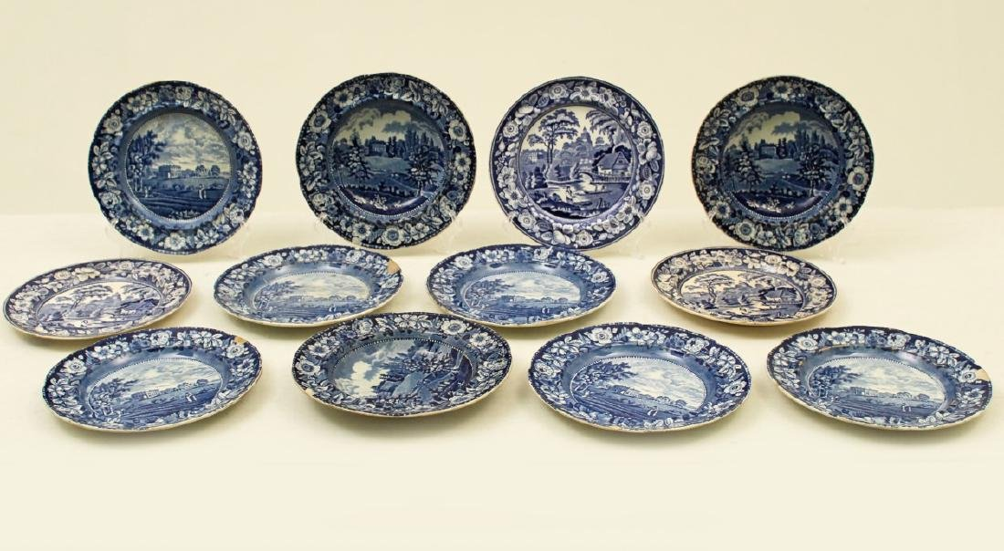 MISC. LOT OF 12 EARLY TRANSFER WARE PLATES