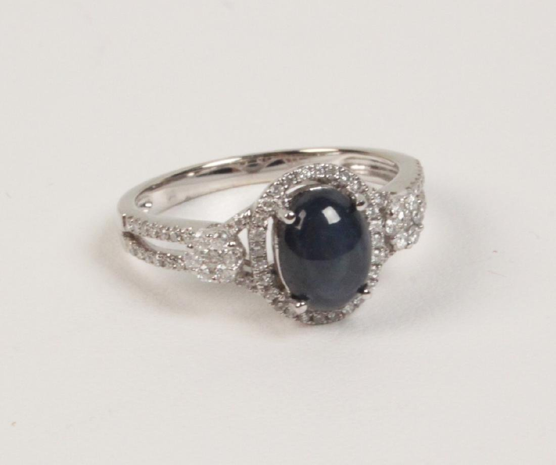 14K DIAMOND AND CABOCHON SAPPHIRE LADY'S RING
