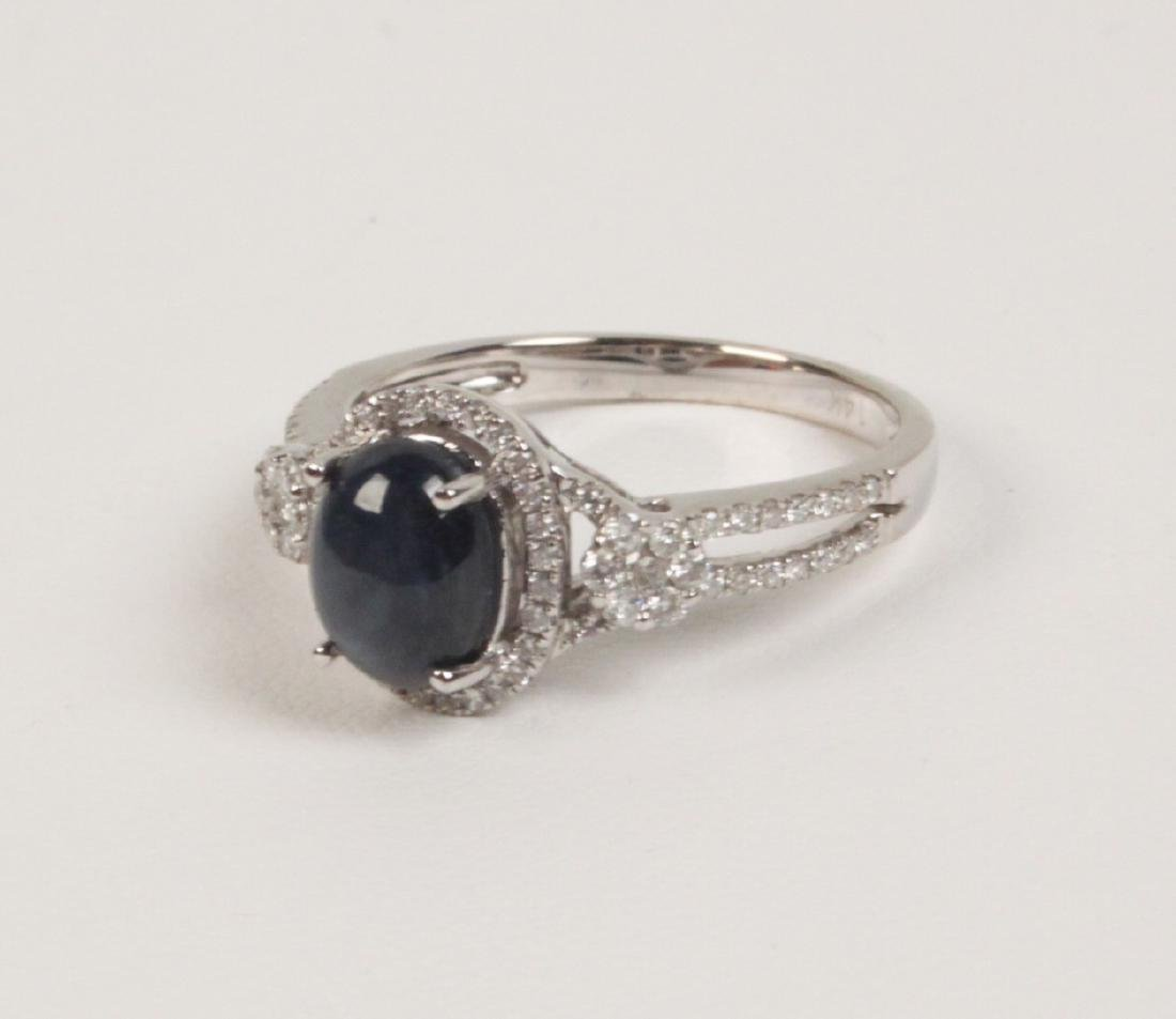 14K DIAMOND AND CABOCHON SAPPHIRE LADY'S RING - 2
