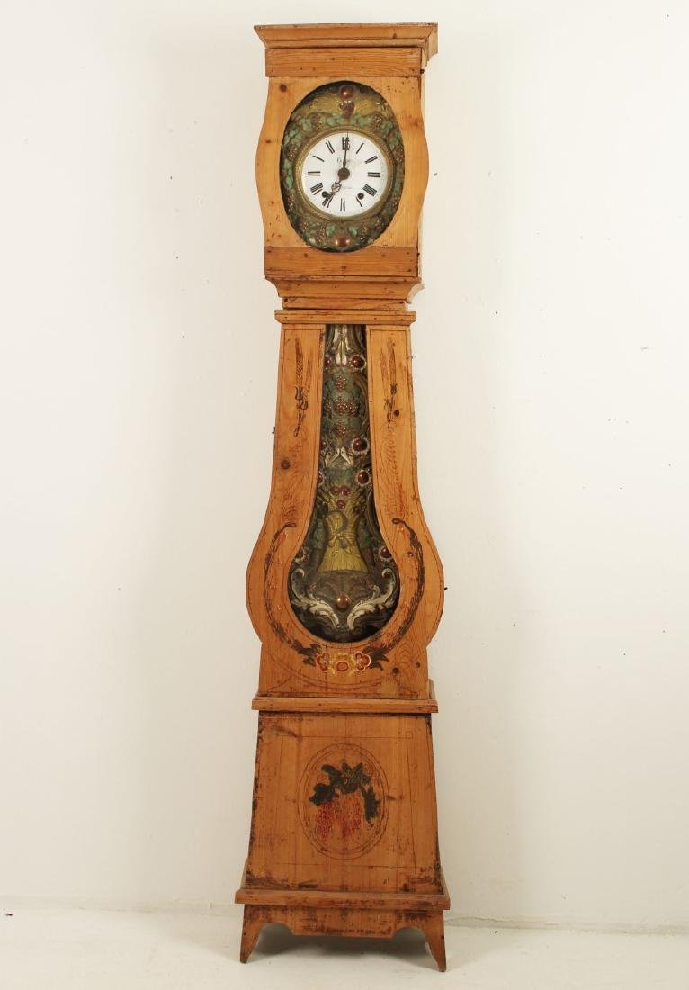 FRENCH PINE MORBIER GRANDFATHER CLOCK