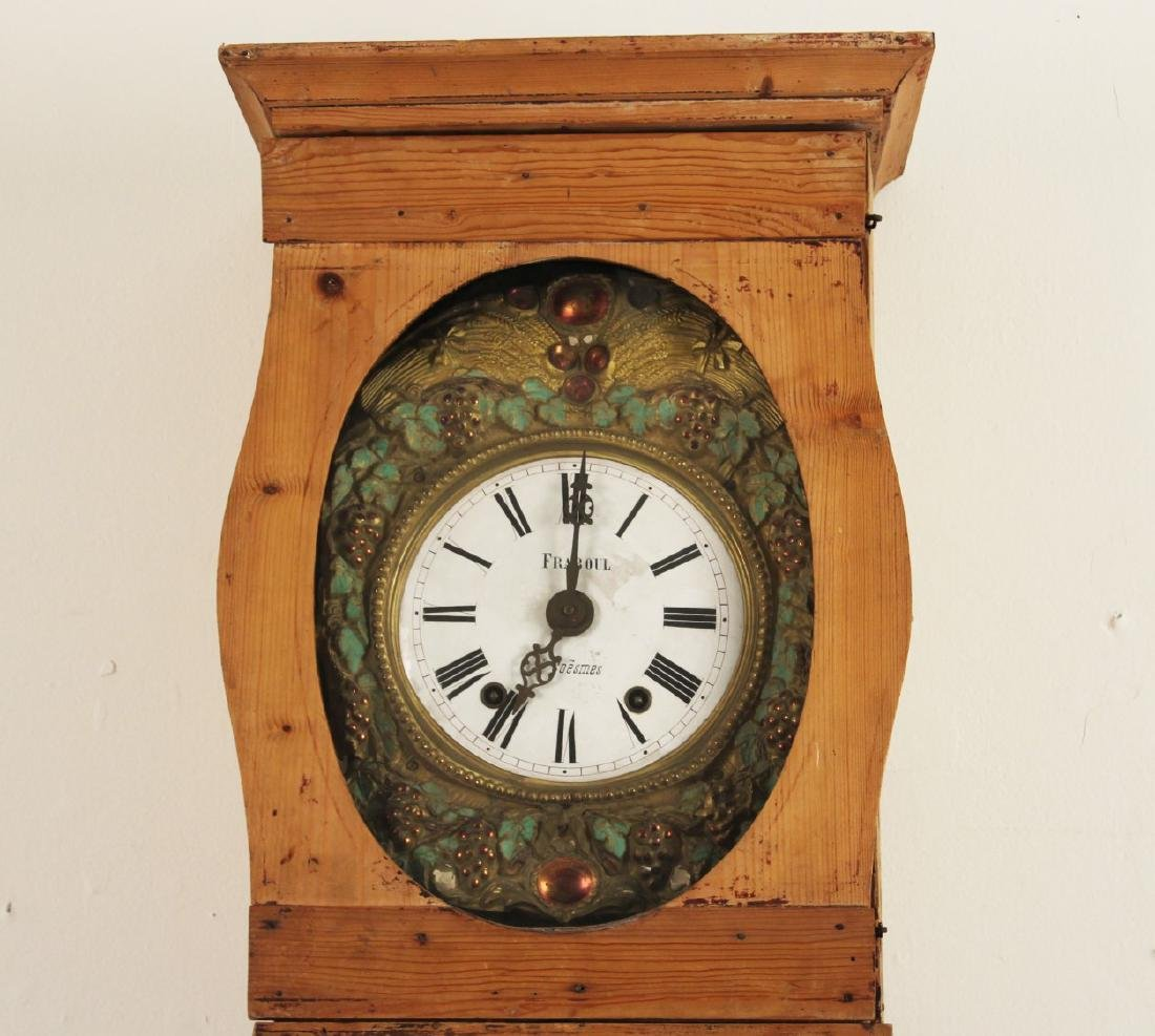 FRENCH PINE MORBIER GRANDFATHER CLOCK - 3