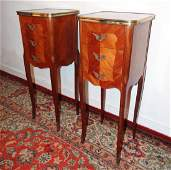 PR. OF PETITE LOUIS XV STYLE MARBLE TOP COMMODES
