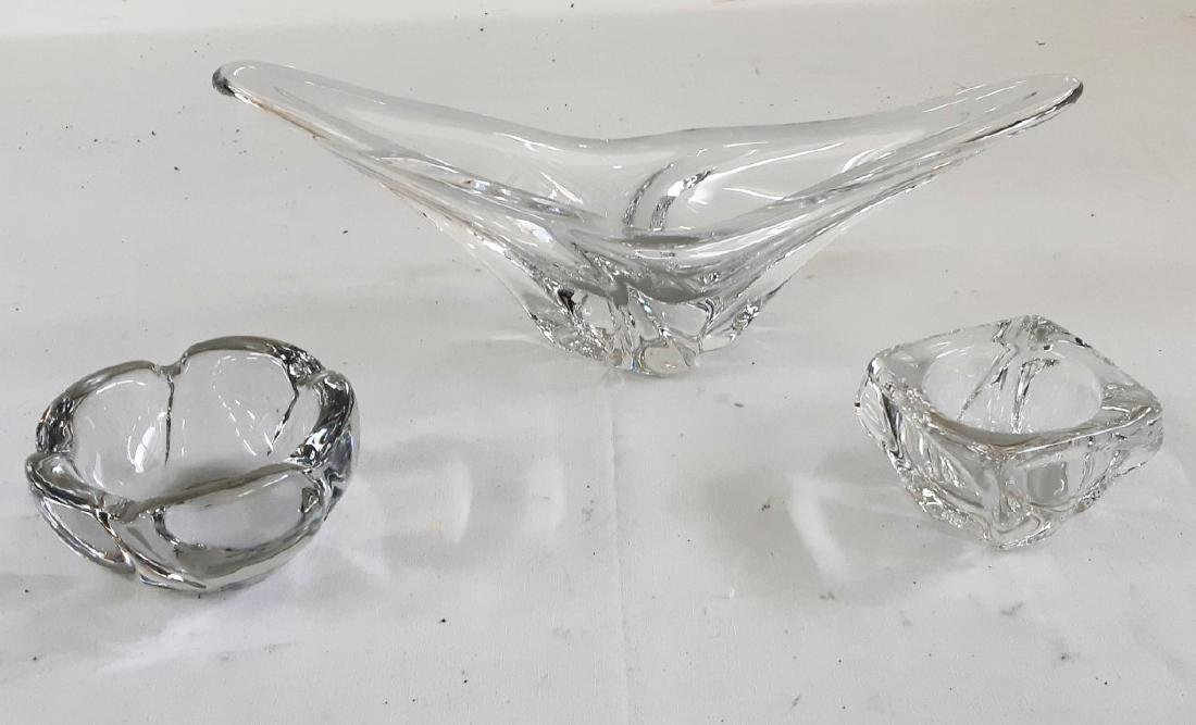 3 PC. MISC LOT OF SIGNED DAUM FRENCH CRYSTAL