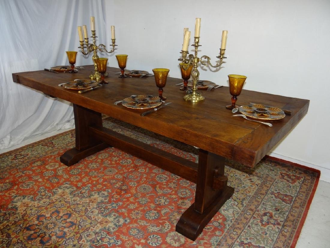 SOLID OAK ARTS AND CRAFTS STYLE DINING TABLE