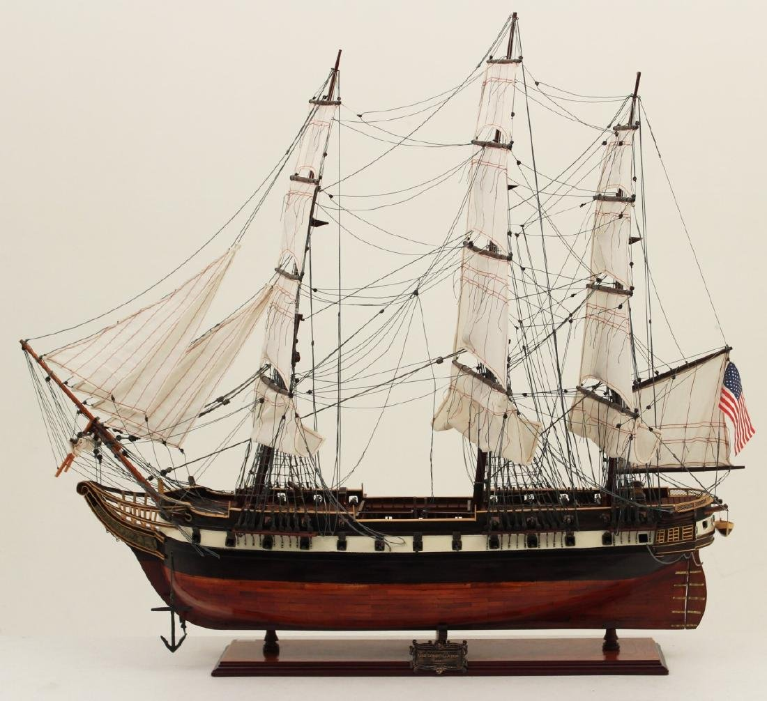 WOODEN SHIP MODEL OF U.S. CONSTELLATION