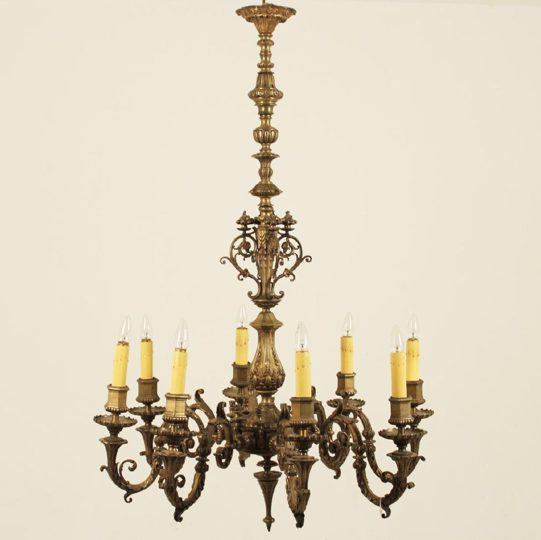 ANTIQUE FRENCH EMBOSSED BRONZE CHANDELIER