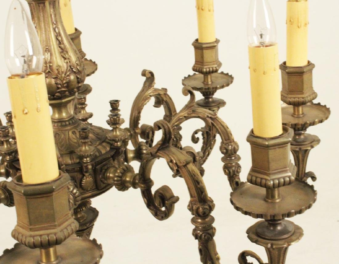 ANTIQUE FRENCH EMBOSSED BRONZE CHANDELIER - 3