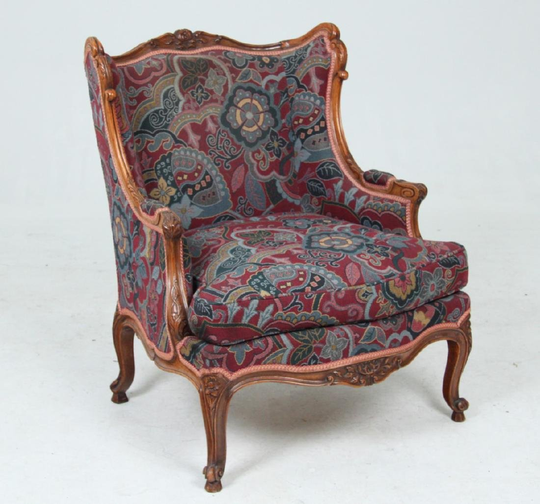 LOUIS XV STYLE CARVED WALNUT BERGERE