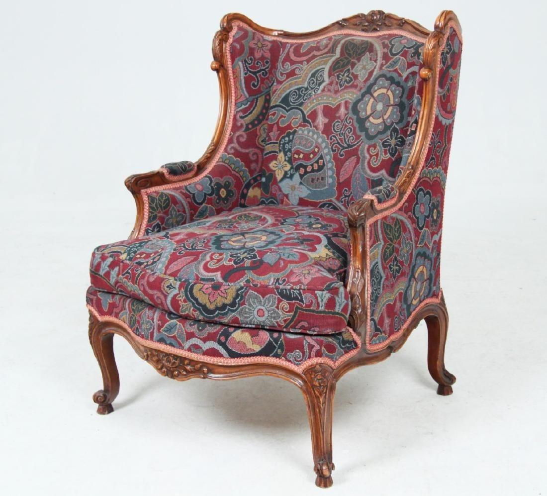 LOUIS XV STYLE CARVED WALNUT BERGERE - 2