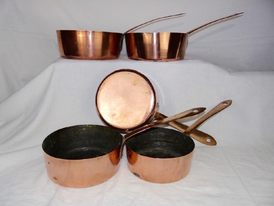 SET OF 5 COPPER CULINARY PANS