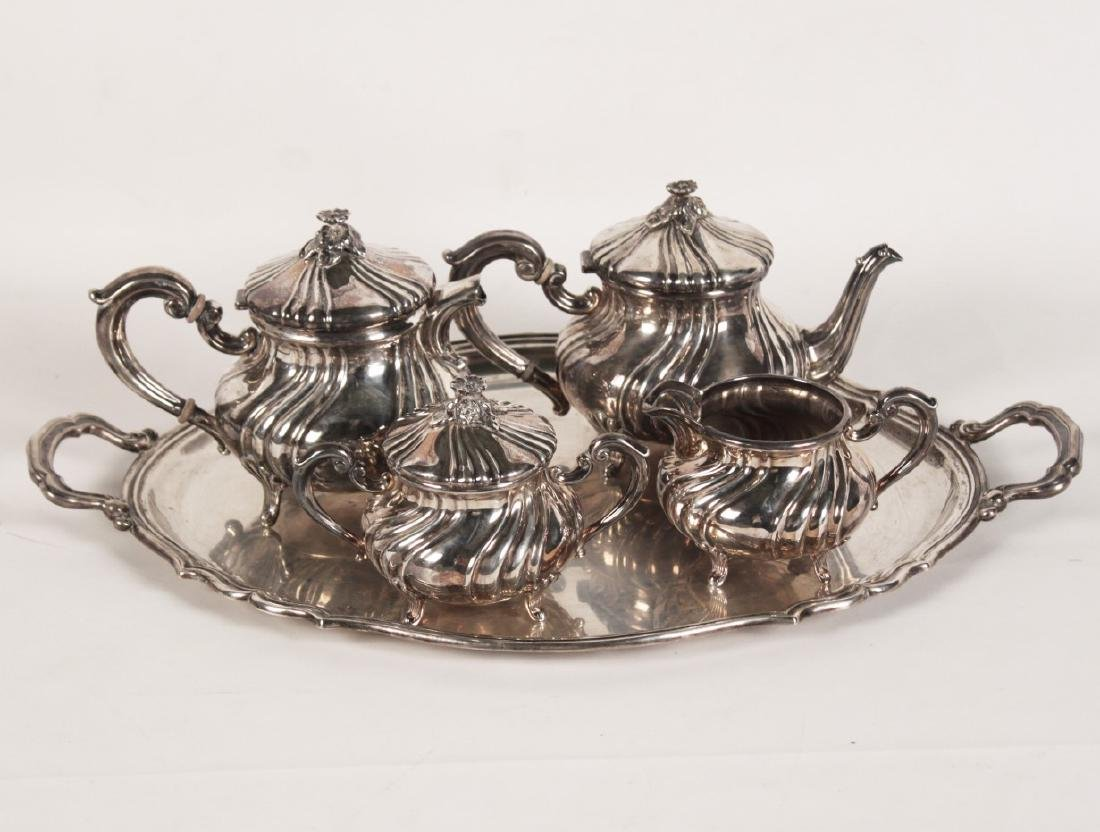 97 TOW; 5 PC. CONTINENTAL STERLING SILVER TEA SERVICE
