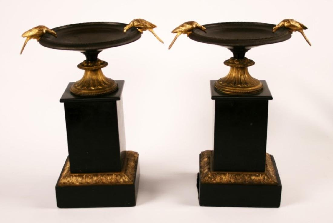 PR. OF 19TH C. FRENCH MARBLE/BRONZE TAZZAS
