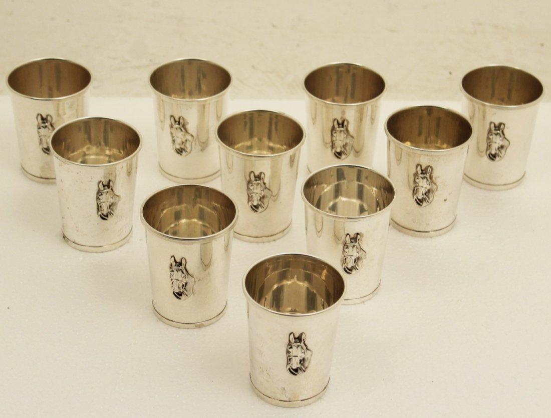 34 T.O.W., 10 STERLING SILVER DERBY MINT JULIP CUPS