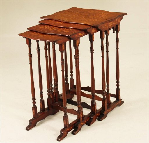 newest collection 0eb09 5cb4d SET OF 4 DUTCH MARQUETRY INLAID NESTING TABLES