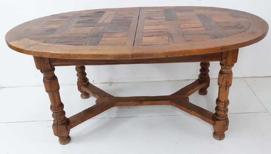 COUNTRY FRENCH SOLID OAK OVAL DINING TABLE