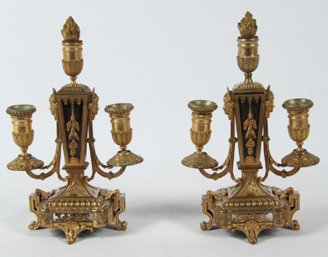 PR. OF LOUIS XV STYLE GILT BRONZE 2 LIGHT CANDELABRA