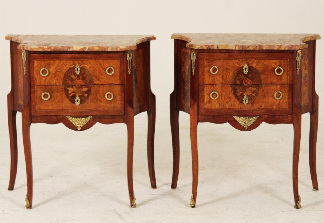 PR. OF FRENCH  BRONZE MTD MARBLE TOP COMMODES