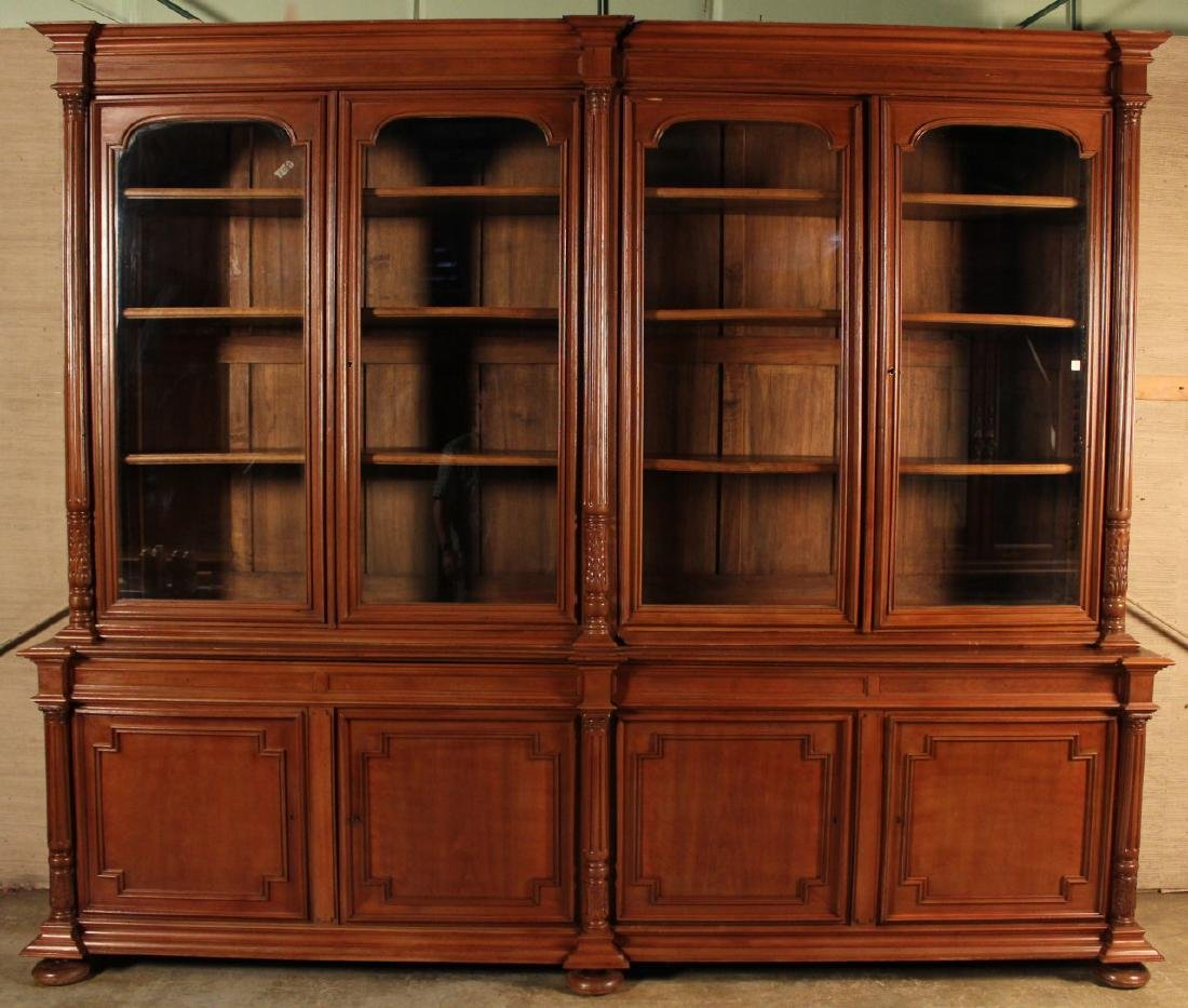 MASSIVE FRENCH WALNUT LOUIS XVI INSPIRED BOOKCASE