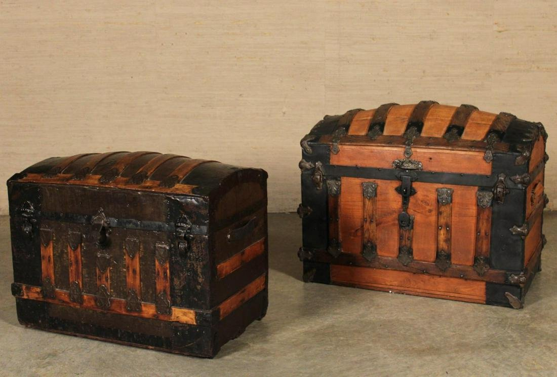 2 LEATHER AND BRASS BOUND STEAMER TRUNKS