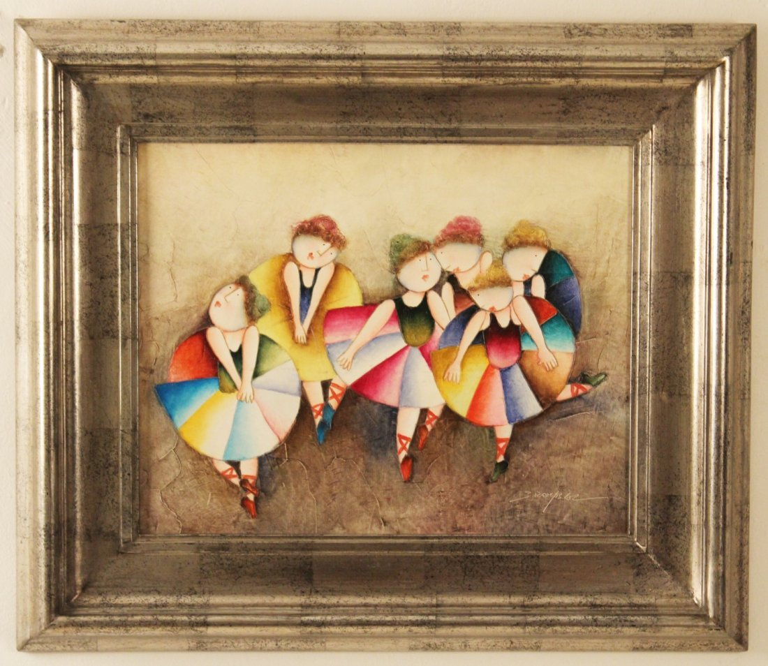 20TH C. OIL ON CANVAS PAINTING OF BALLERINAS
