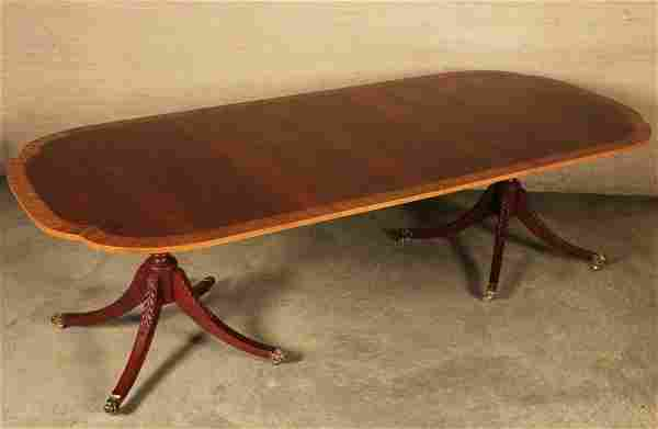 MAHOGANY SATINWOOD BANDED 2 PEDESTAL DINING TABLE BY