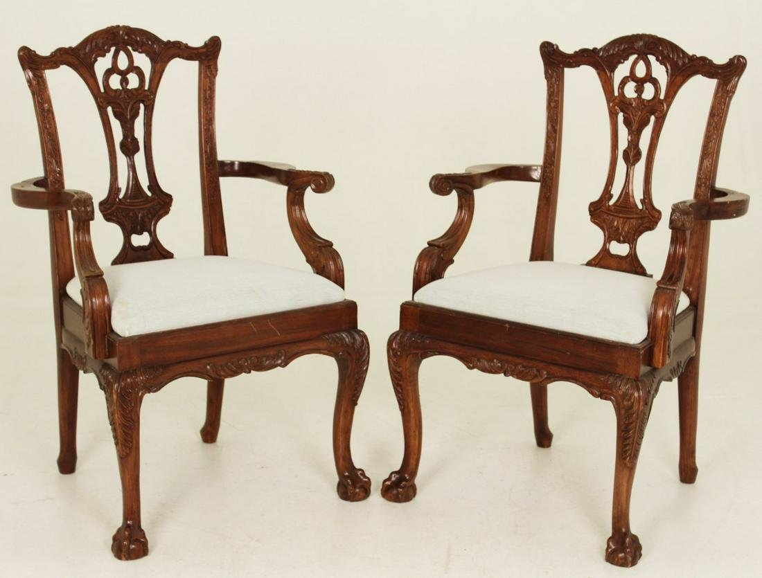 PAIR OF CHIPPENDALE STYLE MAHOGANY ARM CHAIRS