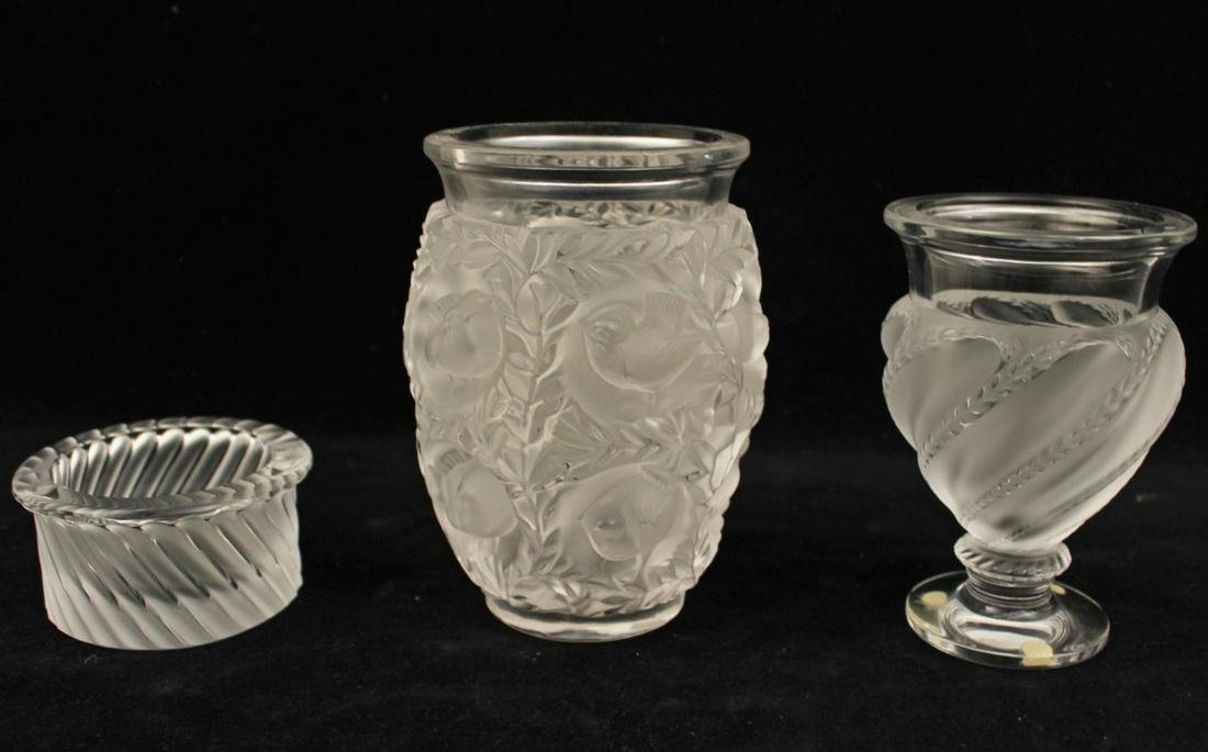 3 PIECE MISC. LOT OF SIGNED FRENCH LALIQUE CRYSTAL