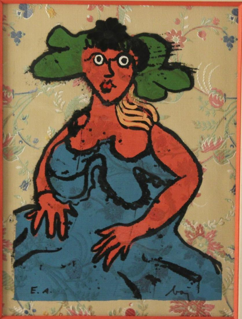 """ENRICO BAJ (ITALIAN, 1924-2003) """"LA ROBE BLUE"""" ETCHING"""