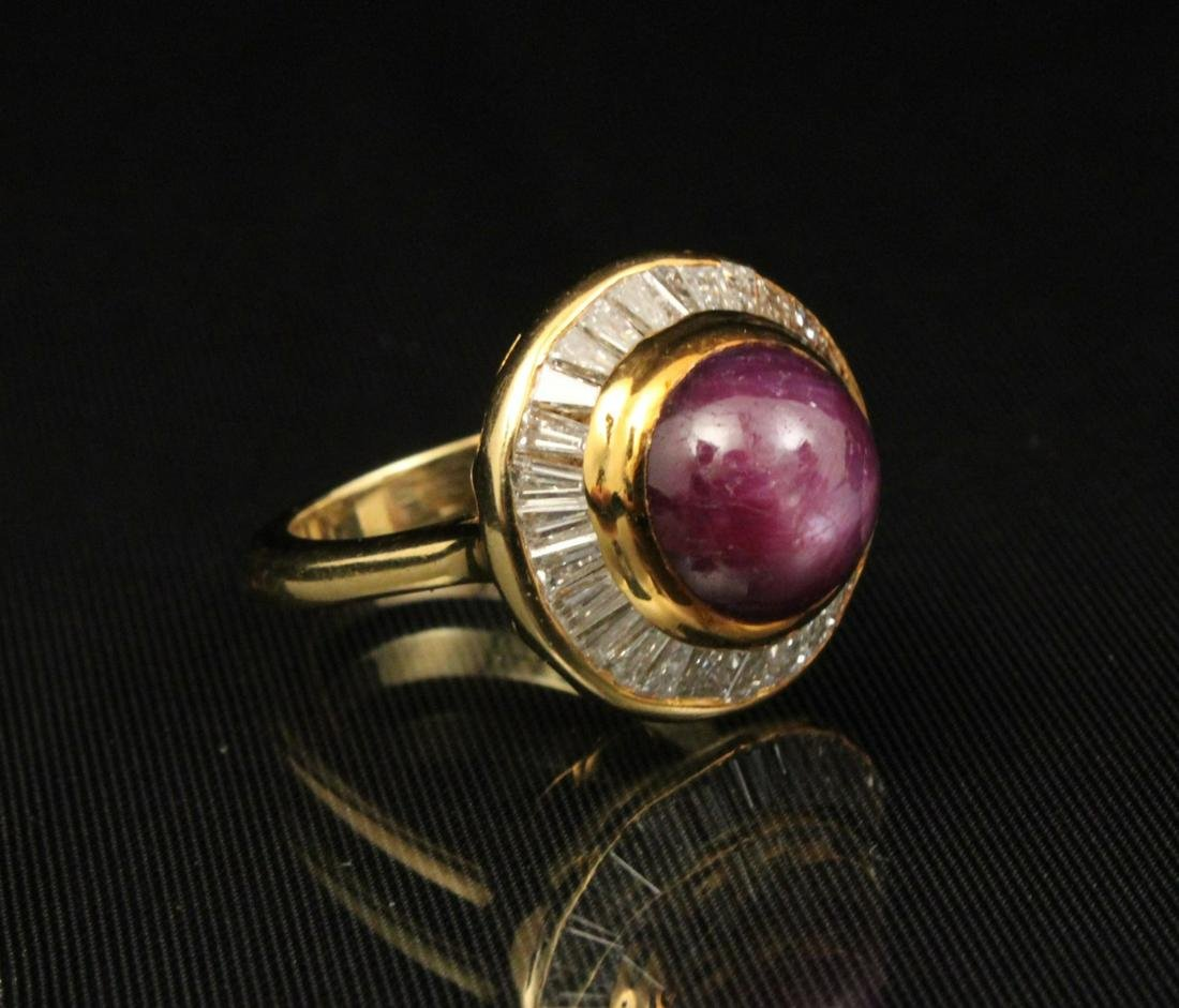 18K Y/G DIAMOND AND STAR RUBY RING