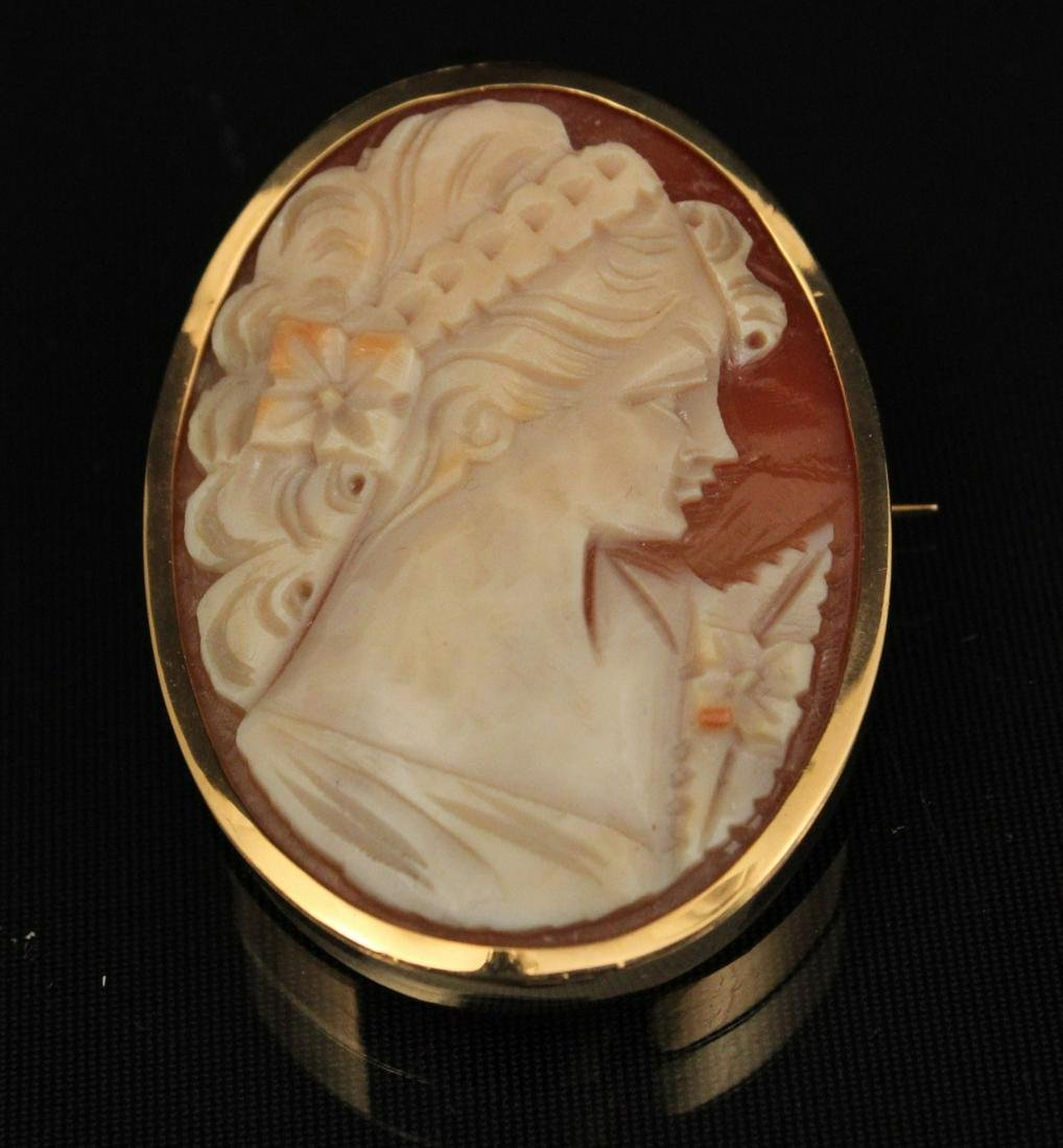 18K Y/G  (OR HIGHER) MTD CAMEO PIN/PENDANT