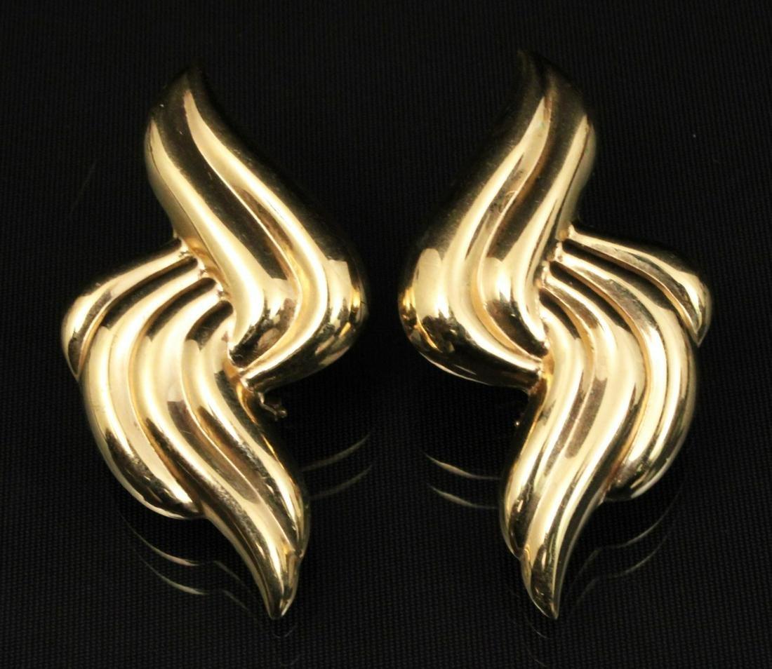 PR. OF 14K Y/G SWIRL DESIGN EARRINGS;  11.5 GR TW