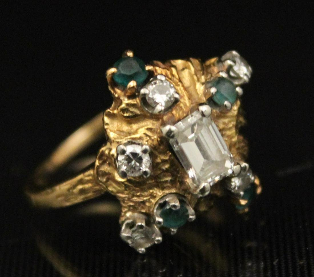 18K Y/G DIAMOND AND EMERALD RING;  3.8 GR TW