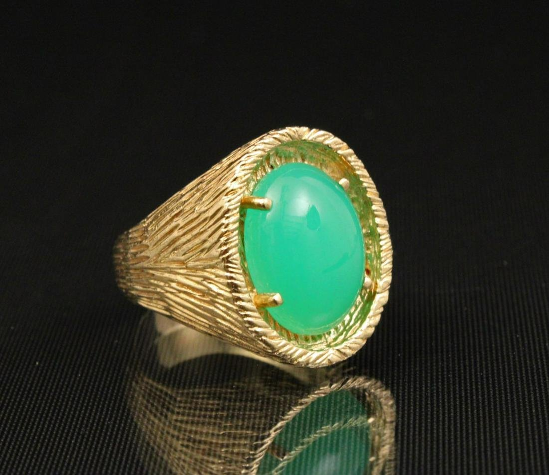 14K Y/G AND CABOCHON EMERALD RING;  18.7 GR TW