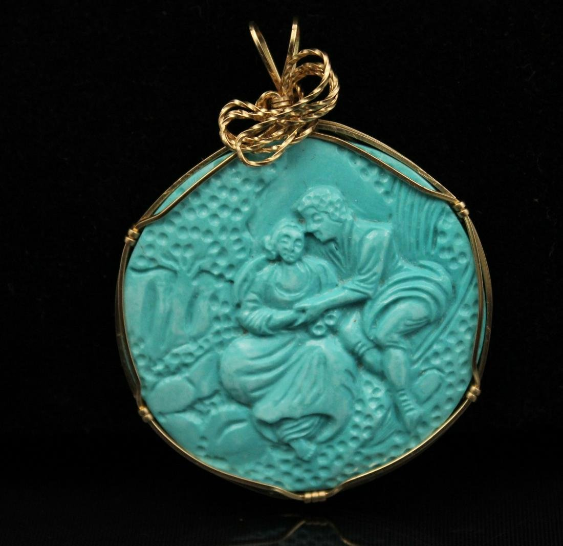 10K Y/G  MTD TURQUOISE PENDANT W/ COURTING SCENE