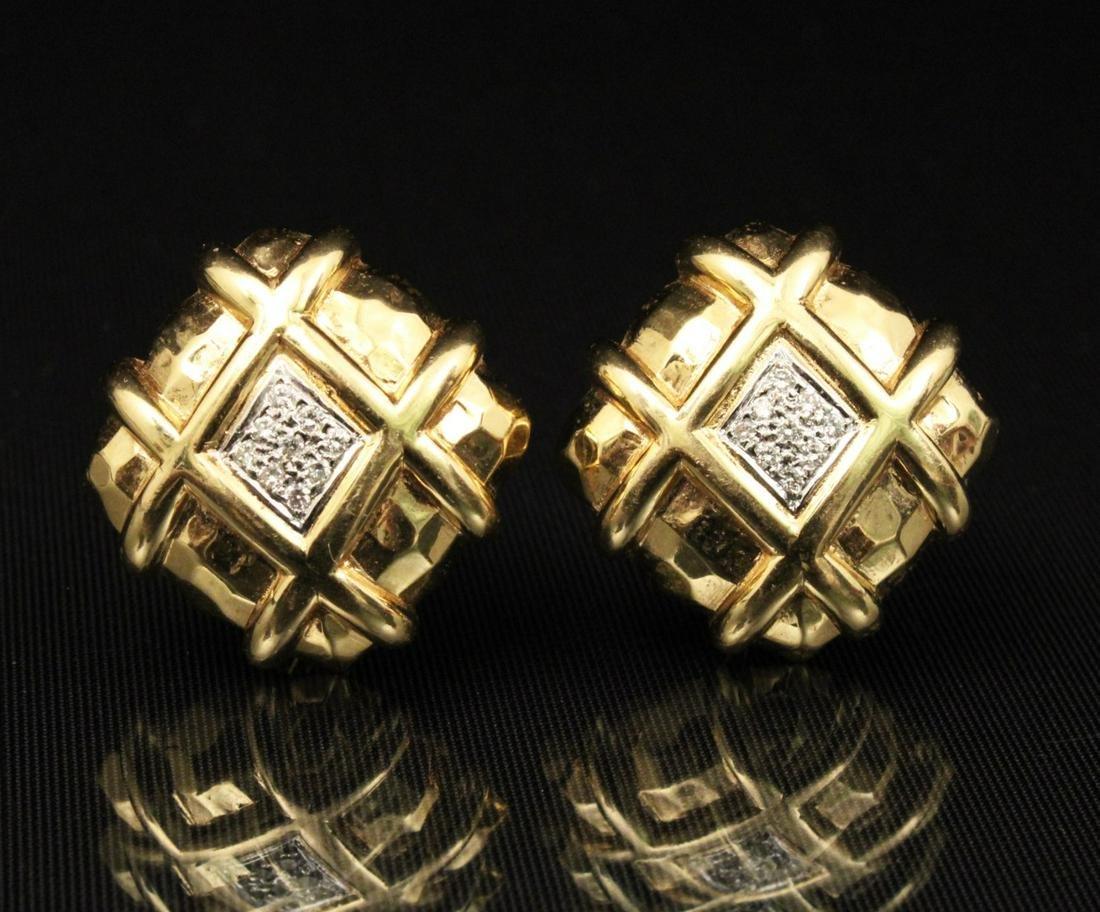 PR. OF 18K Y/G AND DIAMOND EARRINGS;  16.6 GR TW