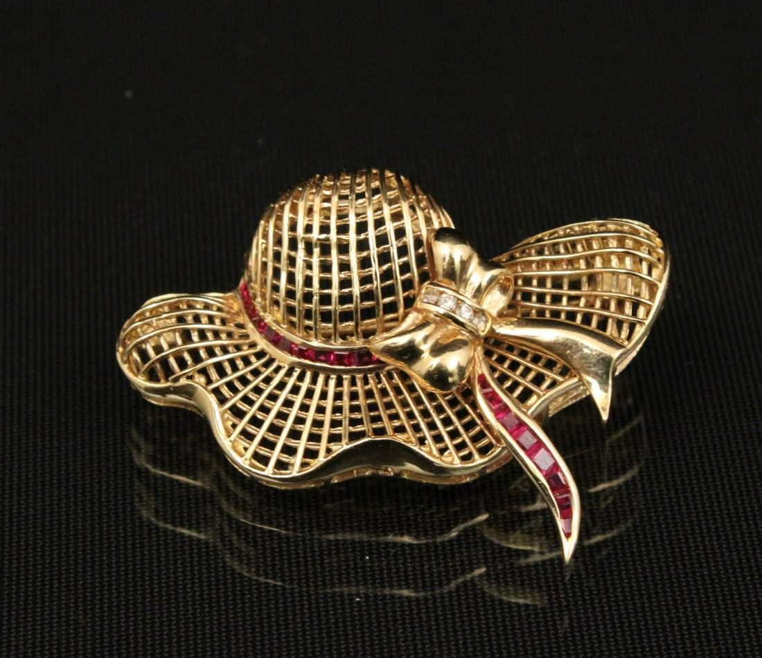 14K Y/G BONNET BROOCH/PIN W/RUBIES AND DIAMONDS;  7.7