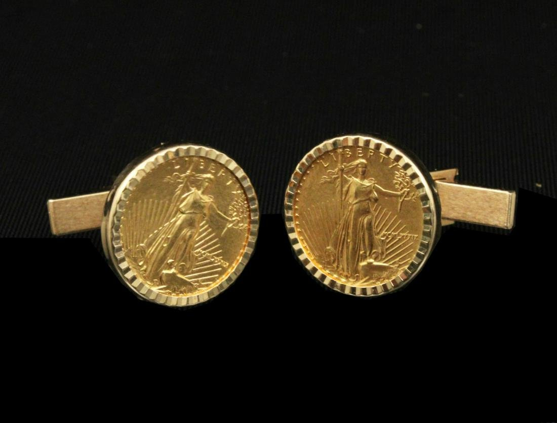 PR. OF LIBERTY PROOF COIN CUFF LINKS MTD IN 14K;  13.5