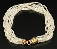 PEARL NECKLACE W/14K PANTHER HEAD DIA., RUBY & SAPPHIRE