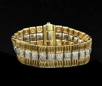 18K Y/G AND DIAMOND BRACELET; APPRX. 3.9 CTW DIAS.;