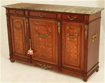 FRENCH MAHOGANY BRONZE MTD MARBLE TOP SIDEBOARD