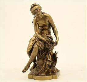 MOREAU, FRENCH BRONZE OF SEATED FEMALE FIGURE