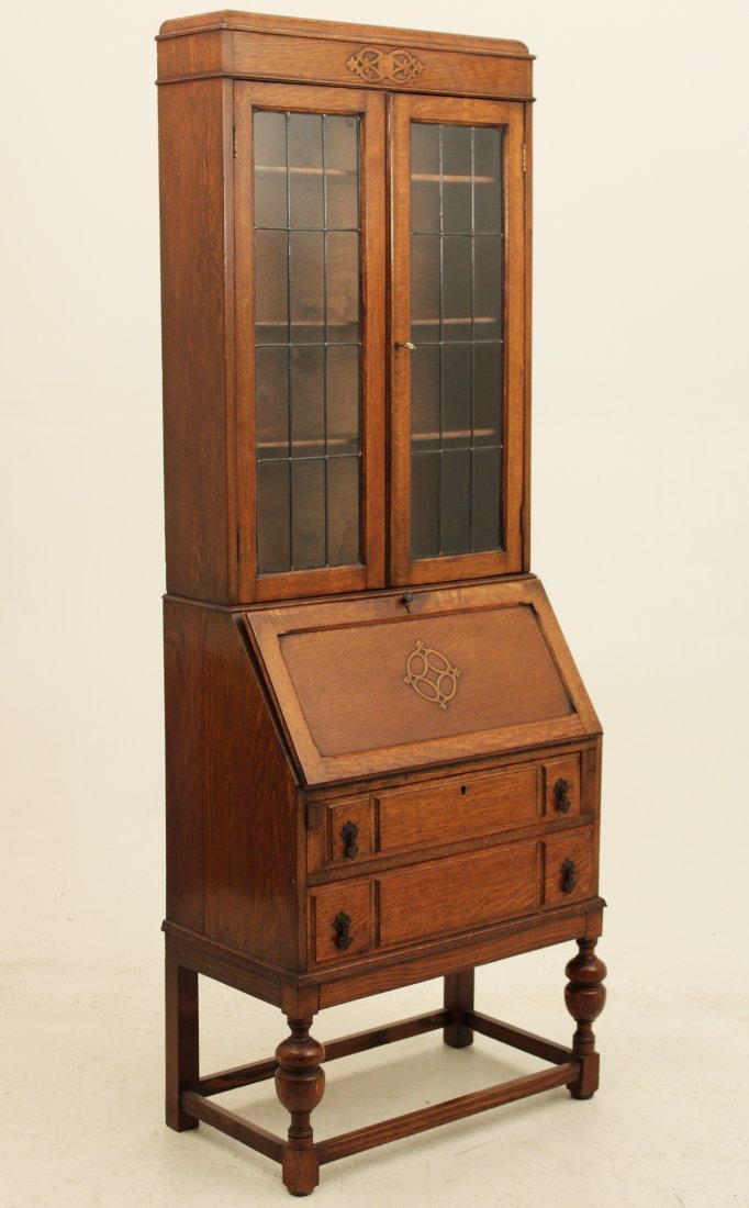 ENGLISH OAK EDWARDIAN BUREAU BOOKCASE W/ LEADED GLASS