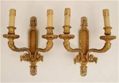 Pr of French gilt bronze 2 light sconces
