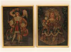 Pr of Continental O/c paintings under glass