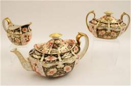 3 pc Royal Crown Derby porcelain tea service